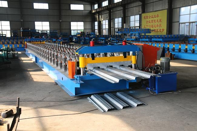 688 Steel Floor Tiles Making Machine , PLC Control Cold Roll Forming Machine