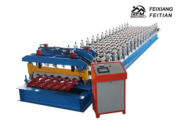 Aluminium Roofing Glazed Tile Roll Forming Machine PLC Control With Different Language