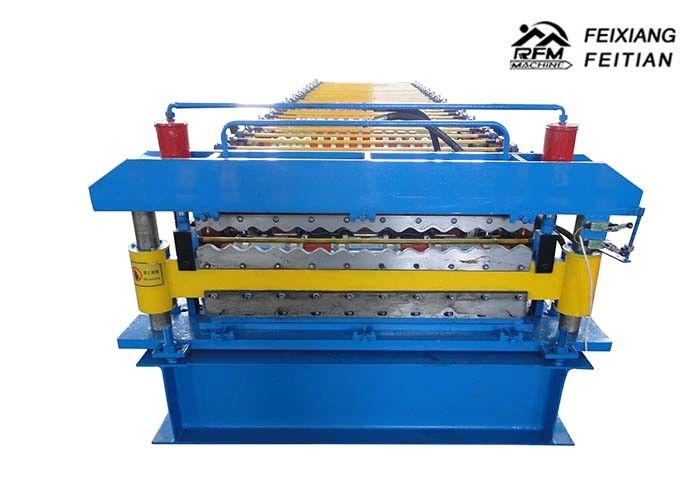 Corrugated / IBR Double Layer Roll Forming Machine PLC Control For Construction